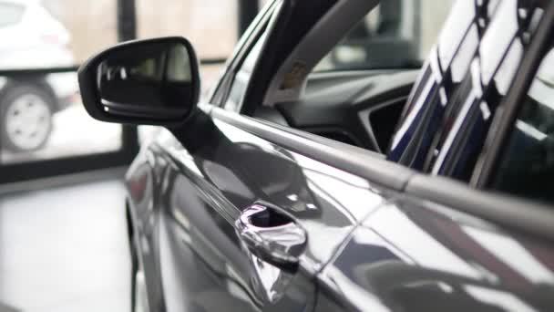 Ein Mann inspiziert Innenraum des Fahrzeugs. Auto, Business, Auto ...