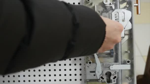 Turned key inside the lock close-up
