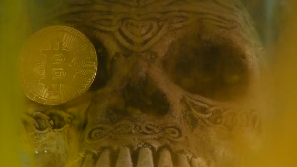 Skull in an aquarium and coin bitcoin with yellow ink