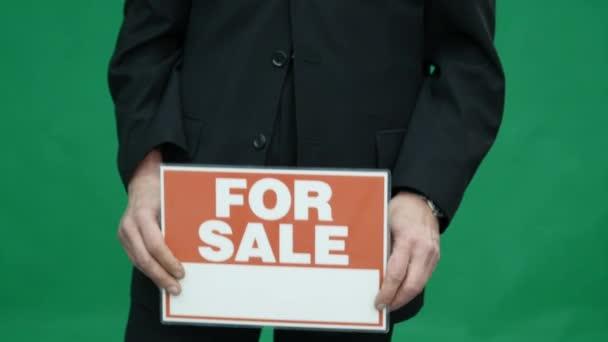 Vezető üzleti ember zöld képernyő tábla