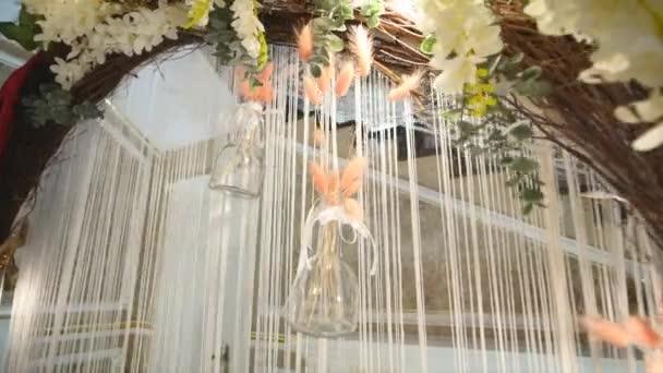 Svatební oblouk s barevné květiny close-up