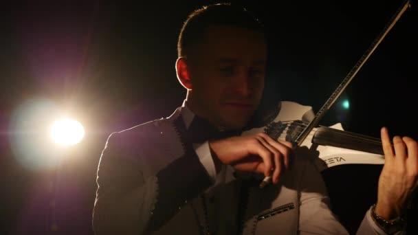 Musician Singing Violinist Playing Violin Instrument Symphonic Concert Soloist. dedolight background