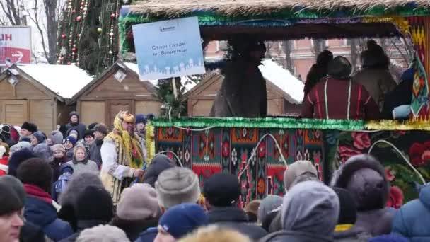 Černovice - Ukrajina - 15. ledna 2018 tradiční každoroční dny vánoční národopisný folklorní festival Malanka Fest 2018 n ukrajinské město Černovice