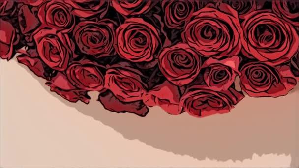 Oříznout, pohled shora. Velká kytice z jemných rudých růží.