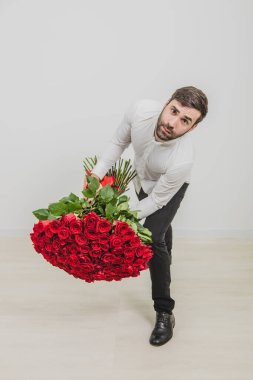 Satisfying womans whimsies concept. Young man holding heavy roses bouquet, leaning to the camera, frowning, looking unhappy. stock vector