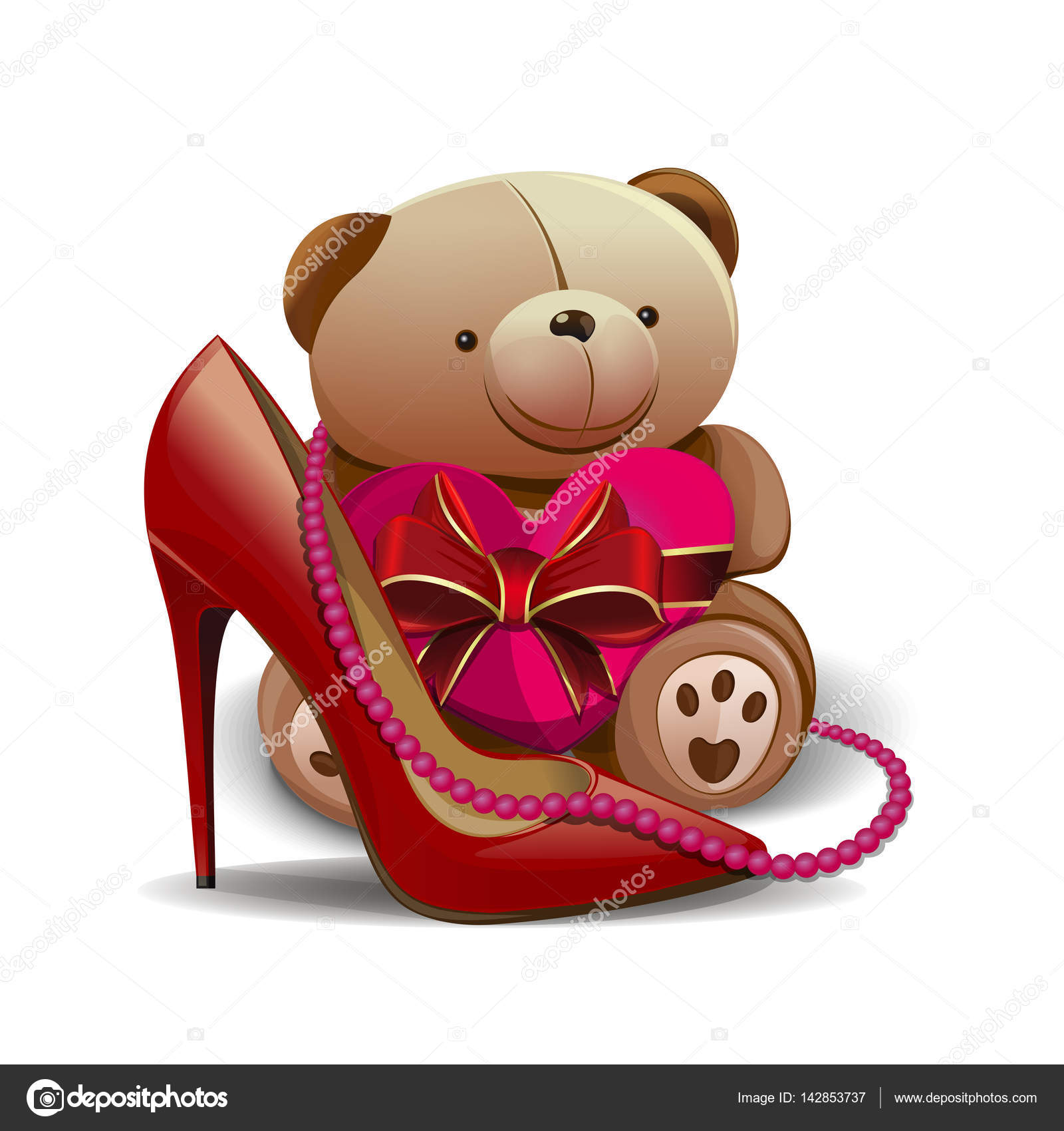 women shoe pink beads teddy bear heart design elements for