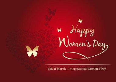 Women's day design. 8 March. Happy Women's Day. Fluttering butte