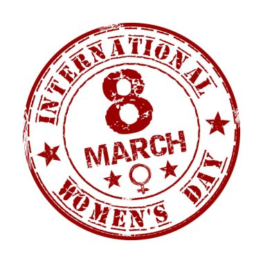 Red grunge rubber stamp with the text International Women's Day written inside. March 8