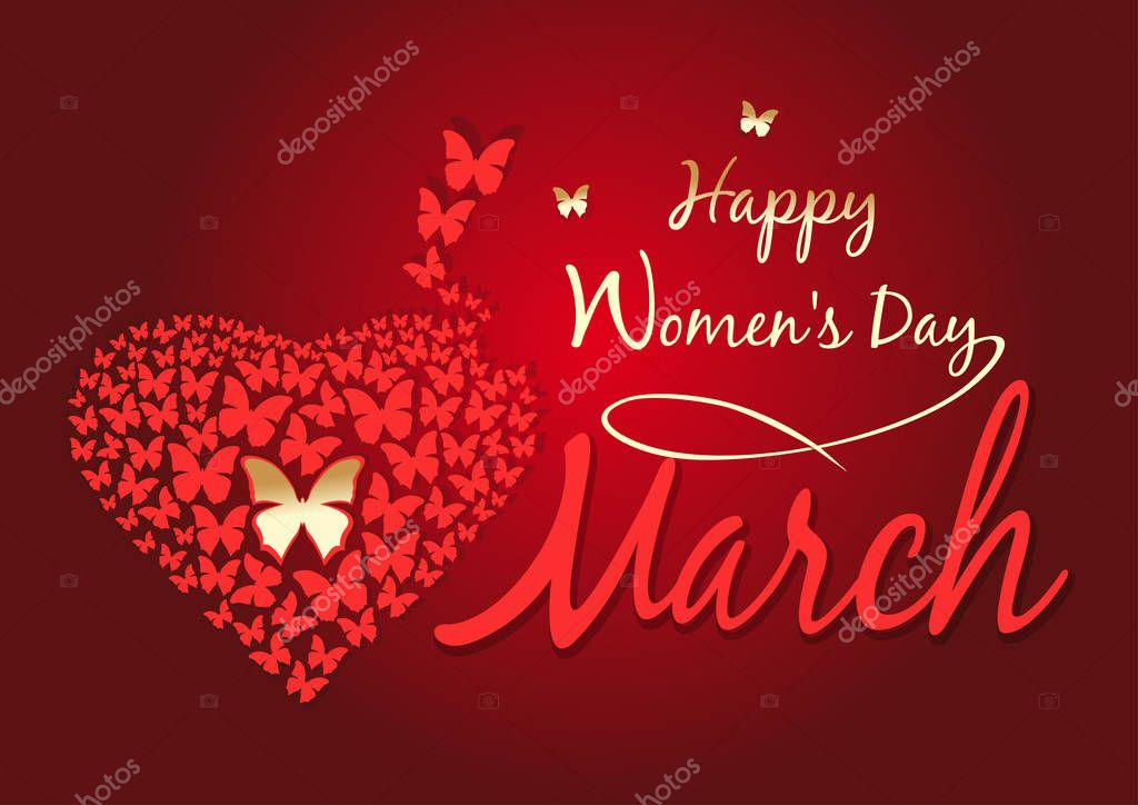 Women's day design. Happy Women's Day. 8 March. Greeting card