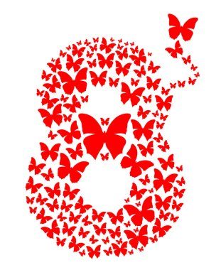 Number eight consisting of flying butterflies. March 8. Design element for celebration of the International Womens Day