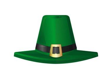 St. Patricks Day hat. Green leprechaun hat. Design element to St. Patricks Day