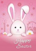 Fényképek Aranyos húsvéti nyuszi a rózsaszín háttér. Kellemes húsvéti ünnepeket. A húsvéti ünnepek szimbóluma