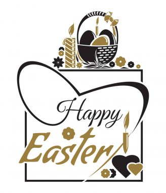 Happy Easter. Easter lettering. Typographic design. Easter greeting card