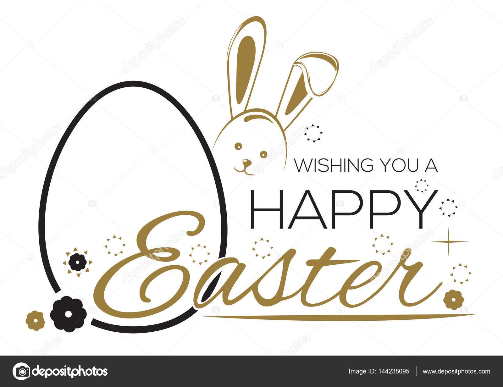 Gruß Inschrift mit der Osterhase und Ostereier. Wir wünschen Ihnen ...