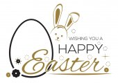 Grußinschrift mit dem Osterhasen und Ostereiern. Wir wünschen Ihnen frohe Ostern