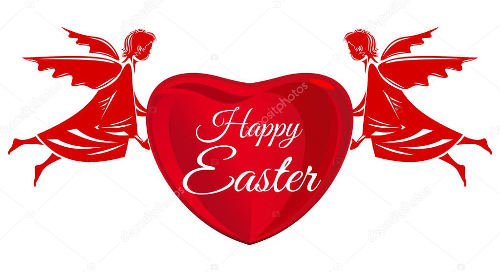 Happy Easter. Angels and big red heart with greeting inscription. Easter greeting card