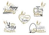 Fotografie Legen Sie Ostern Schriftzug, Osterhase und Ostern Eiern