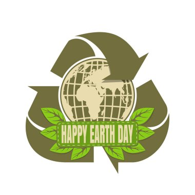 Happy Earth Day design. Globe and recycle green simbol. Recycle logo icon. Vector illustration icon