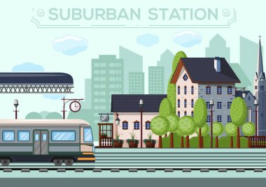 Suburban Railway Station. City life design