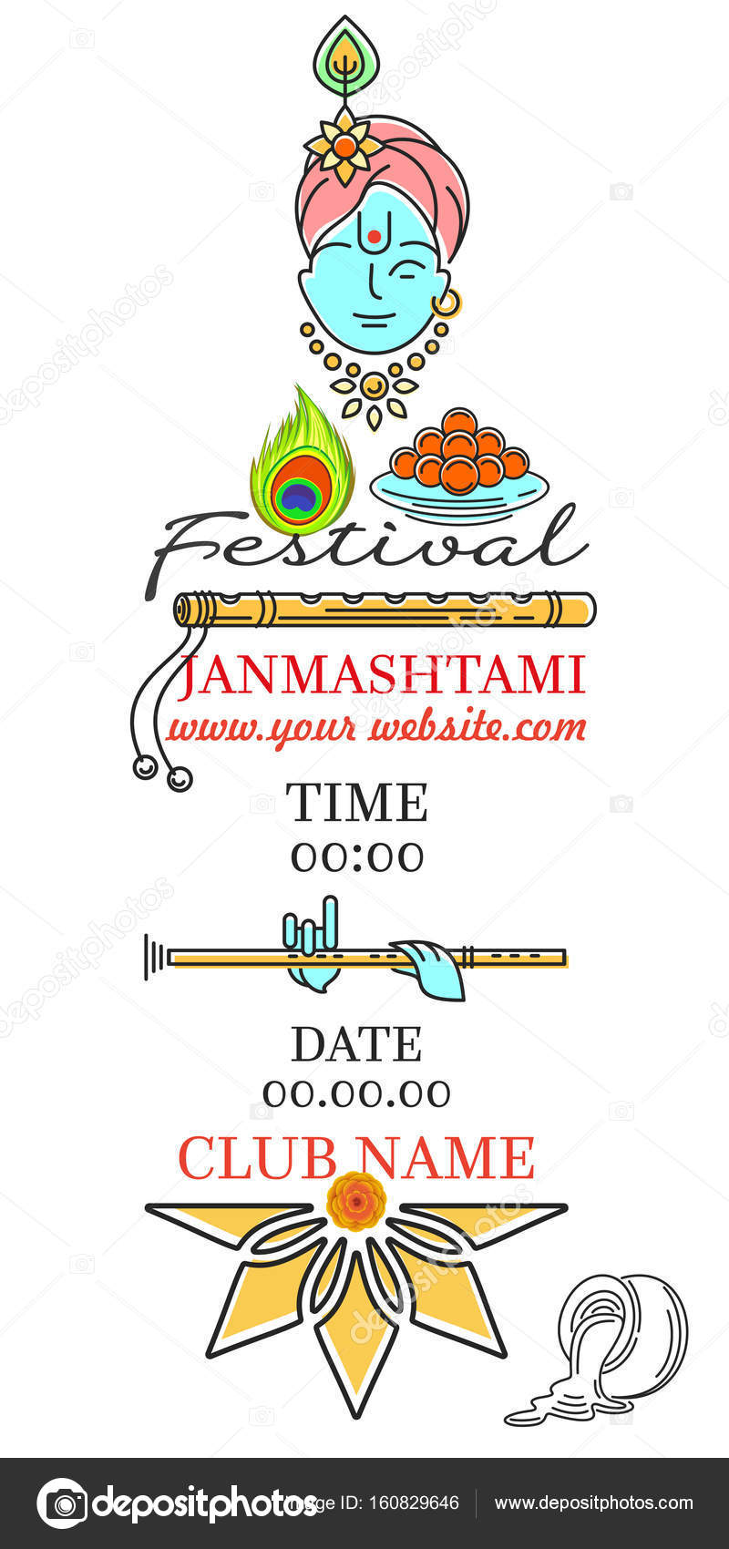Krishna janmashtami festival invitation card stock vector krishna janmashtami festival invitation card stock vector stopboris Images