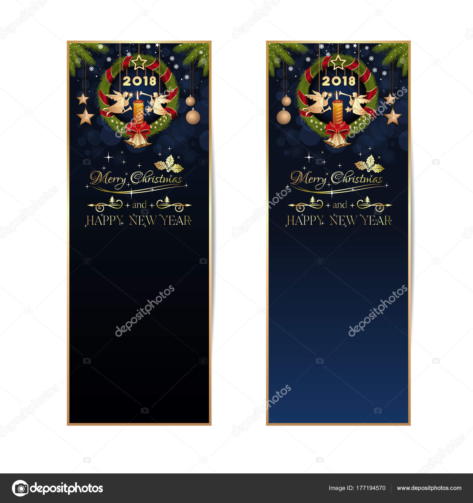 new year 2018 vertical banners set stock vector