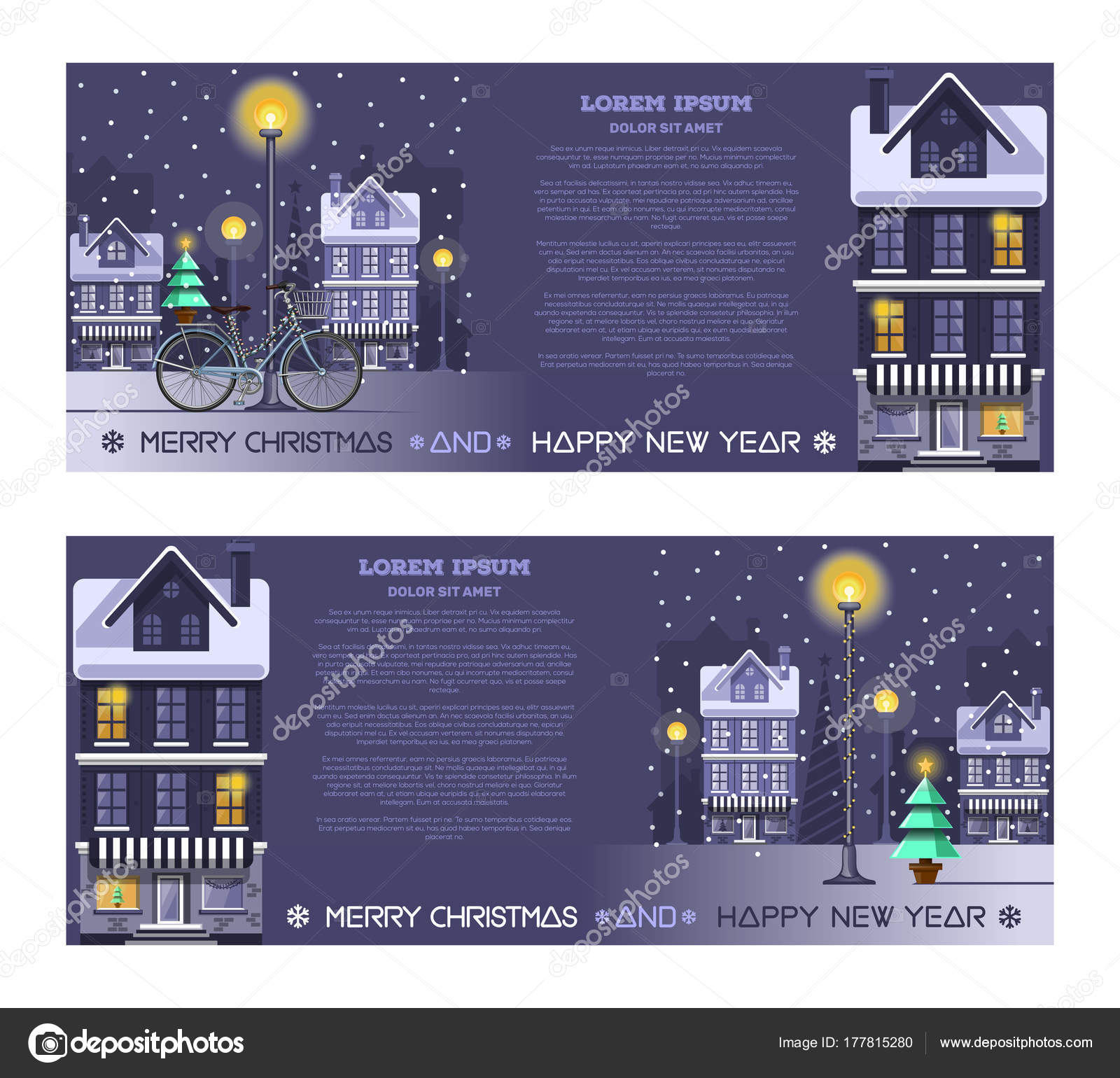 Greeting Cards Set For Christmas And New Year Stock Vector