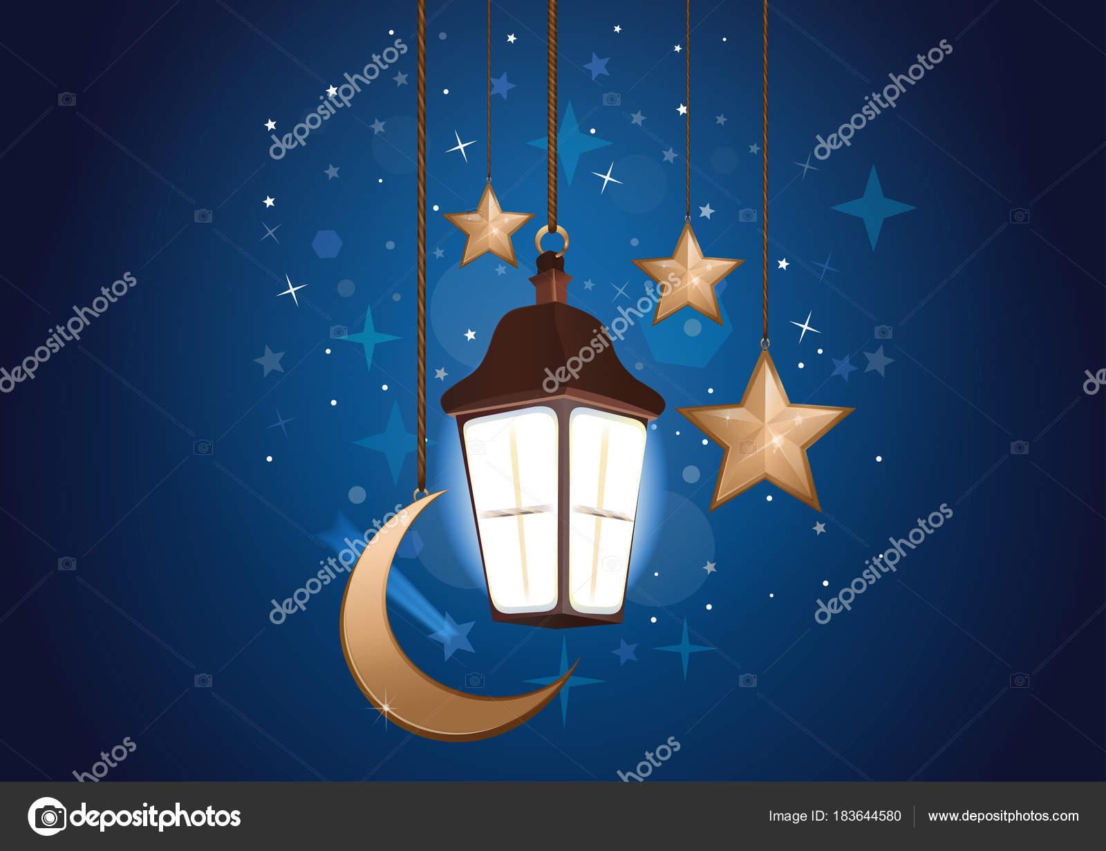 Priorità Bassa Di Notte Con La Luna Le Stelle E Lanterna