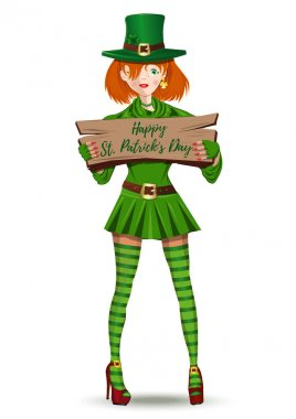 leprechaun girl congratulates on St. Patricks Day