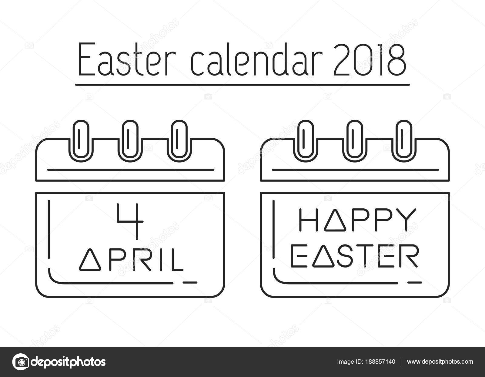 easter calendar catholic easter 2018 calendar with a festive date april 4 line icon set vector illustration vector by kiberstalker