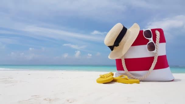 v02073 Maldives beautiful beach background white sandy tropical paradise island with blue sky sea water ocean 4k bag hat flip flops