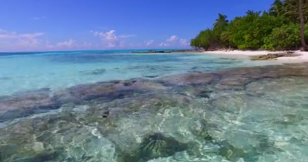 v02356 Maldives beautiful beach background white sandy tropical paradise island with blue sky sea water ocean 4k