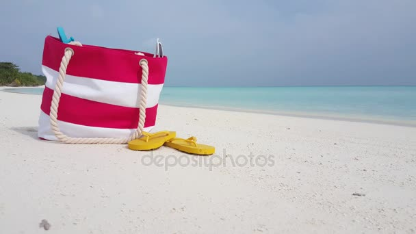 v02359 Maldives beautiful beach background white sandy tropical paradise island with blue sky sea water ocean 4k bag flip flops