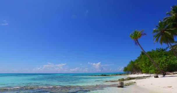 v02390 Maledivy krásné pláže pozadí bílé písečné tropický ráj ostrov s modrou oblohu moře vody oceánu 4k