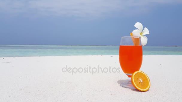 v02415 Maldives beautiful beach background white sandy tropical paradise island with blue sky sea water ocean 4k cocktail orange flower