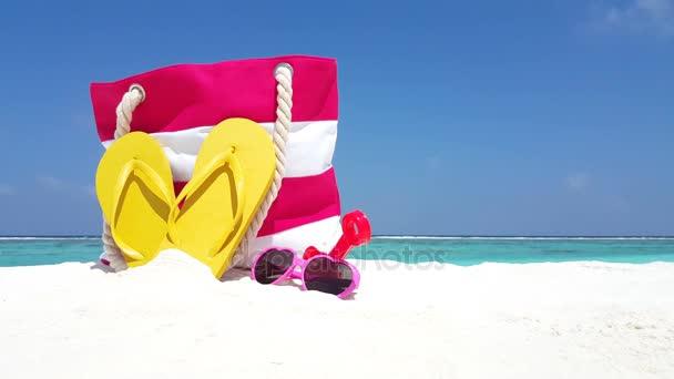 v02533 Maldives beautiful beach background white sandy tropical paradise island with blue sky sea water ocean 4k picnic bag flip flops