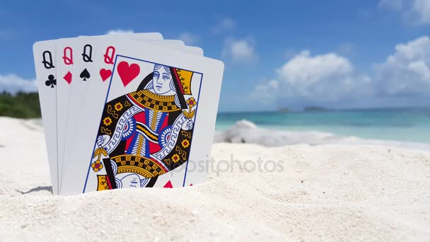 v01207 Maldives beautiful beach background white sandy tropical paradise island with blue sky sea water ocean 4k playing cards queens
