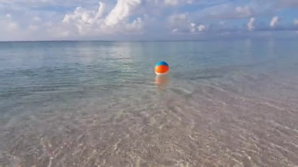 v01305 Maldives beautiful beach background white sandy tropical paradise island with blue sky sea water ocean 4k ball