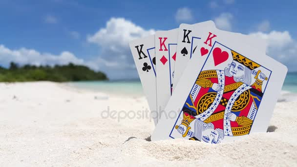 v01337 Maldives beautiful beach background white sandy tropical paradise island with blue sky sea water ocean 4k playing cards kings