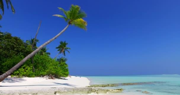 v01462 Maledivy krásné pláže pozadí bílé písečné tropický ráj ostrov s modrou oblohu moře vody oceánu 4k palmu