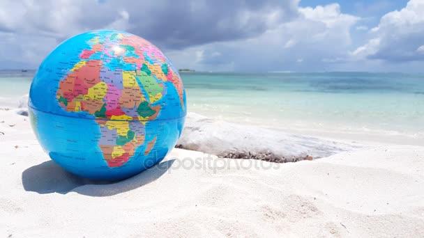 V01297 Maldives Beautiful Beach Background White Sandy Tropical Paradise Island With Blue Sky Sea Water Ocean 4k Globe World Atlas Map