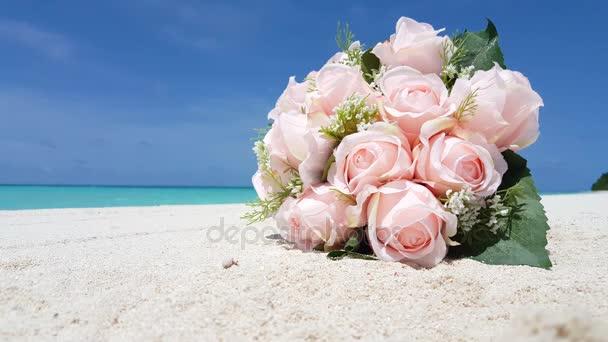 v01413 Maledivy krásné pláže pozadí bílé písečné tropický ráj ostrov s modrou oblohu moře vody oceánu 4k kytice růžové květy