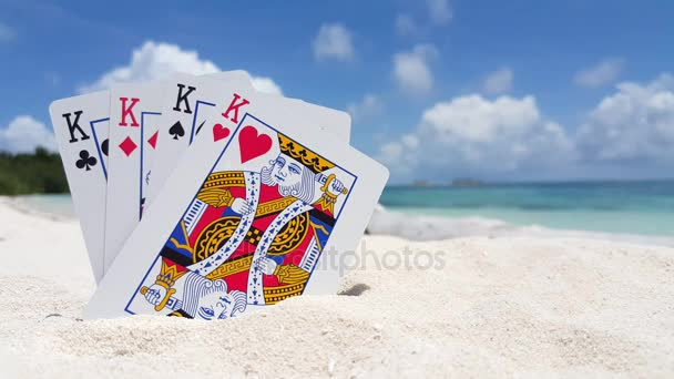 v01539 Maldives beautiful beach background white sandy tropical paradise island with blue sky sea water ocean 4k playing cards kings
