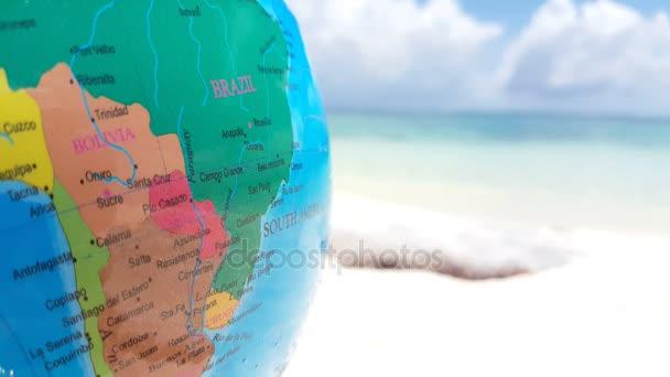 V01609 Maldives Beautiful Beach Background White Sandy Tropical Paradise Island With Blue Sky Sea Water Ocean 4k World Atlas Globe Map