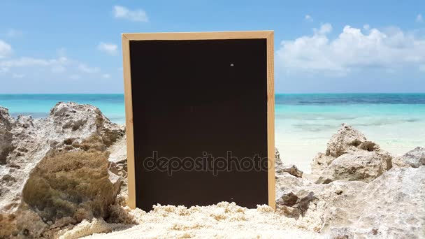 v01705 Maldives beautiful beach background white sandy tropical paradise island with blue sky sea water ocean 4k chalkboard