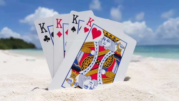 v01781 Maldives beautiful beach background white sandy tropical paradise island with blue sky sea water ocean 4k playing cards kings