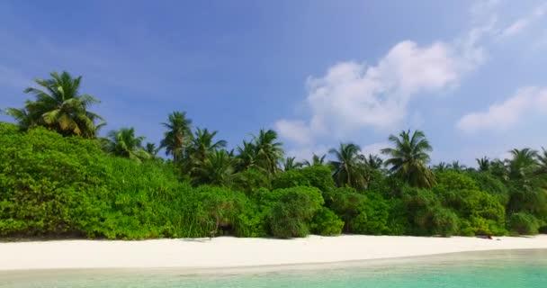 v01984 Maledivy krásné pláže pozadí bílé písečné tropický ráj ostrov s modrou oblohu moře vody oceánu 4k