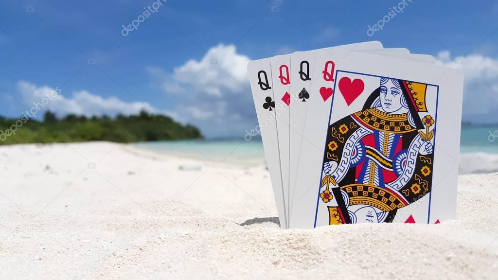 v01211 Maldives beautiful beach background white sandy tropical paradise island with blue sky sea water ocean 4k playing cards queens