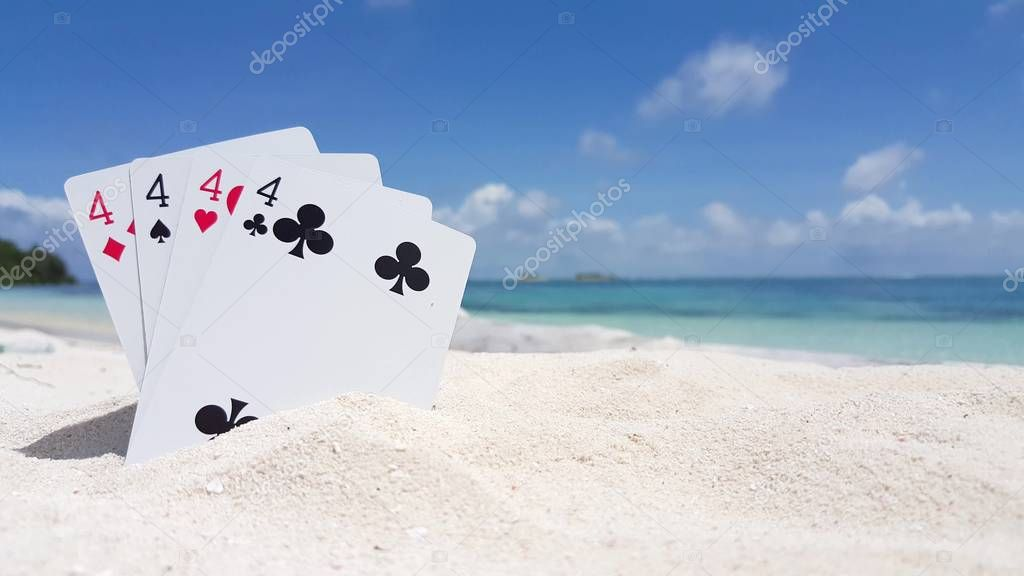 v01259 Maldives beautiful beach background white sandy tropical paradise island with blue sky sea water ocean 4k playing cards fours