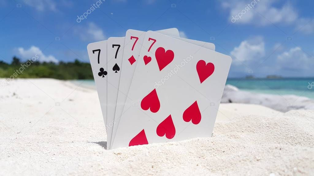 v01311 Maldives beautiful beach background white sandy tropical paradise island with blue sky sea water ocean 4k playing cards sevens