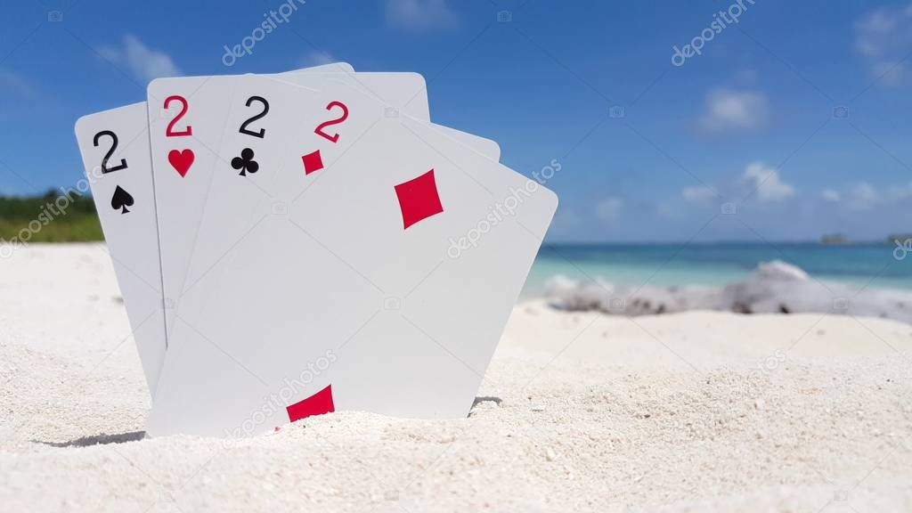 v01397 Maldives beautiful beach background white sandy tropical paradise island with blue sky sea water ocean 4k playing cards twos